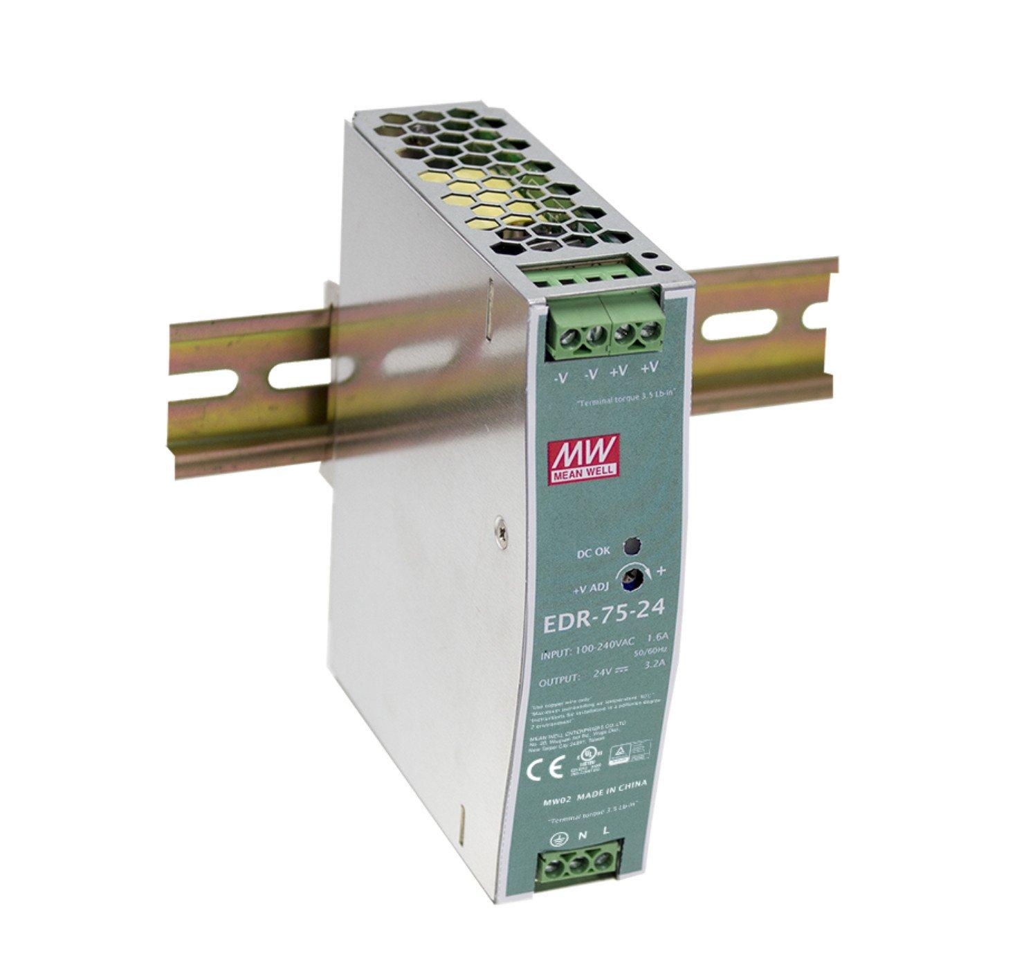MEAN WELL original EDR-75-48 48V 1.6A meanwell EDR-75 48V 76.8W Single Output Industrial DIN RAIL