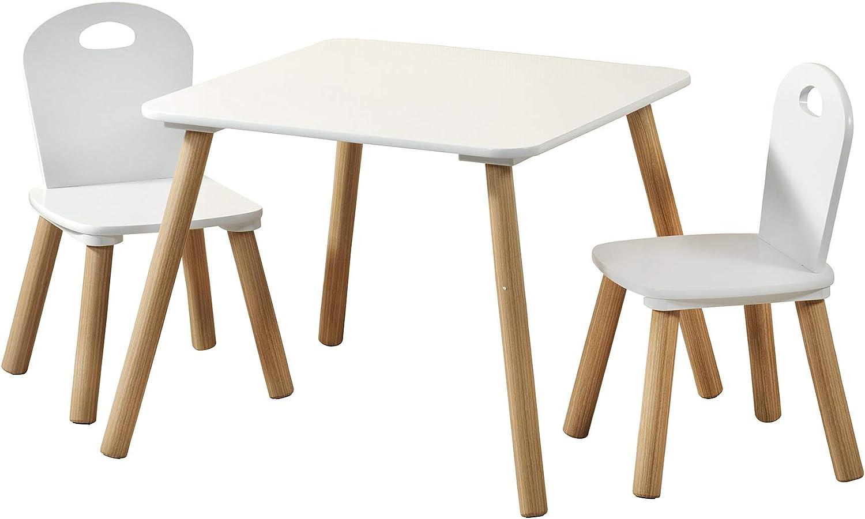 Kesper 1771213 - Mesa infantil con 2 sillas (55 x 55 x 45 cm, silla 27,5 x 27,5 x 50,5 cm), color blanco