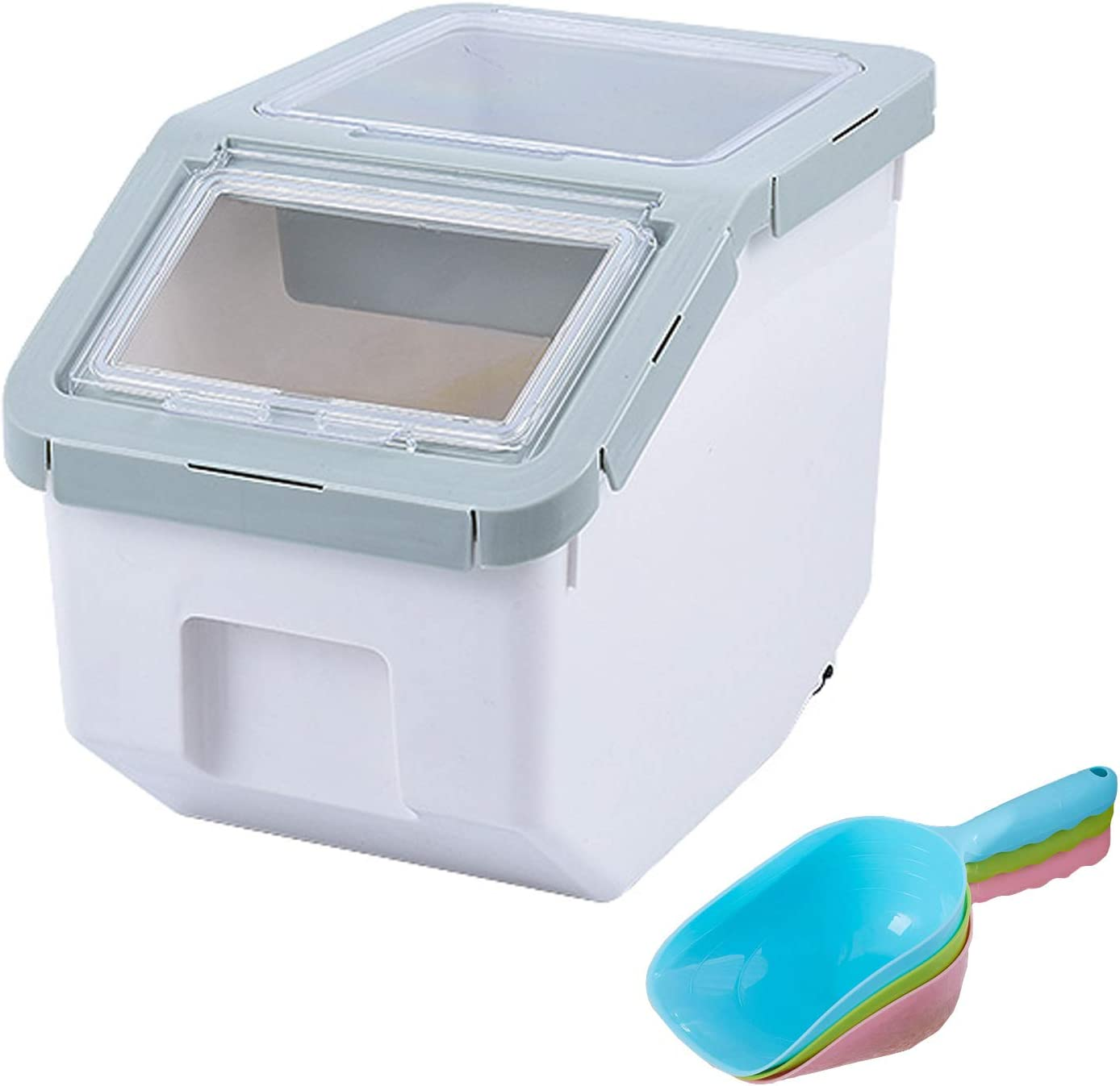 AnRui Rice Container Storage Airtight Plastic Food Holder Dispenser Cereal Grain Organizer Box Pet Dog Cat Food Bin with Locking Lid, Measuring Cup, Scoop & Wheels, Green, Small