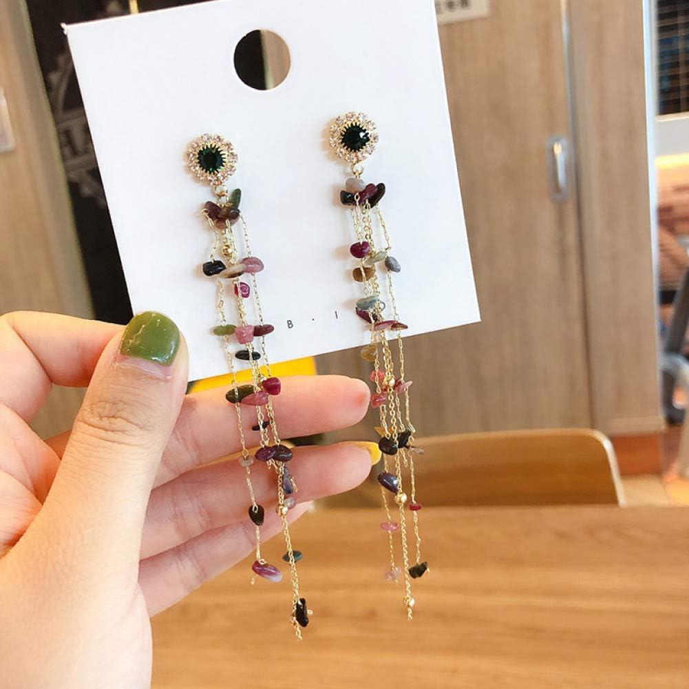 ZHQIC Joyería de Moda de diseño Cadena Larga Personalidad Pendientes de Piedra de Color Pendientes de Borla de Cristal para Regalo de Mujer