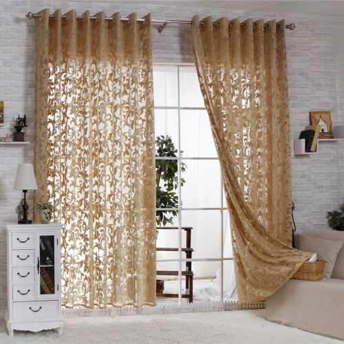 R.LANG Solid Grommet Top Modern Embroidered sheer Curtain 1 Pair Coffee 52
