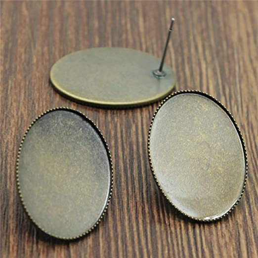 WYSIWYG 30 Pieces Stud Earrings For Jewelry Making Metal Earring Female 2024 Fashion Inner Size 18x25mm Oval Cabochon Cameo settings Tray Bezel Blank