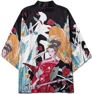 LYH Blusas Japonesas Kimono Carpa Roja Estampado Estilo ...