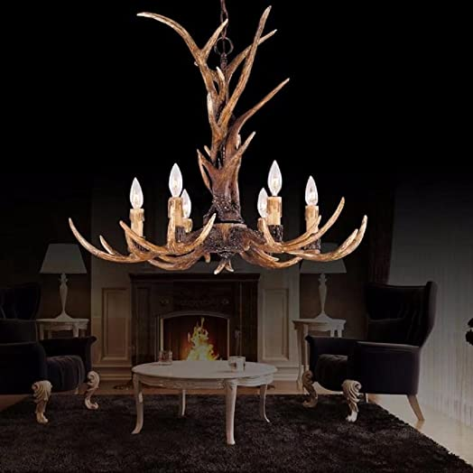 SHF Resin Antler Chandeliers Faux Antler Fixture 6 Light 4 Feet Matching Chain Bulbs Not Included