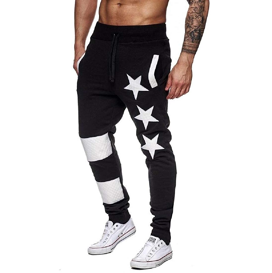 Mens Casual Patriotic Fitness Graceful Comfort Jogger Pants