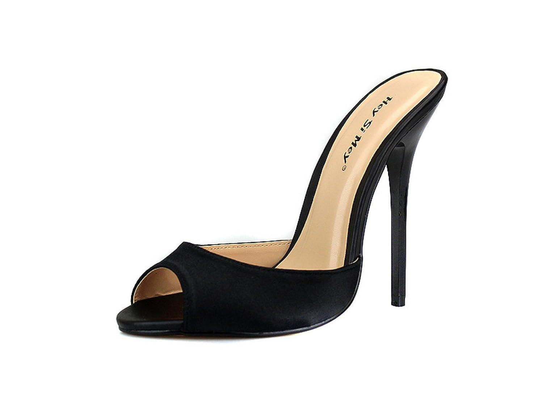 Señoras Sexy Fina Con 14 Cm De Tacones Altos Satén Material Vestido De Fiesta De Graduación (siete Colores Opcionales) EU46|Black