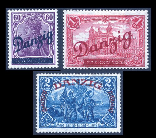 Goldhahn Danzig Nr. 47-49 ungebraucht mit Farb-Fotoattest - Briefmarken für Sammler