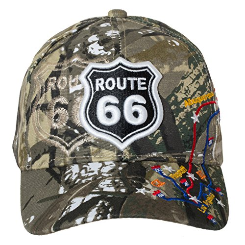 - Artisan Owl US Route 66 Trucker Hat-100% Cotton Embroidered RT 66 Cap (Camo New Style)