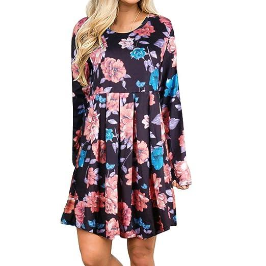 235c4bda287 Sowu Women Mini Dress Floral Dresses Ladies Spring Vintage Boho Long Sleeve  Casual Evening Party Short