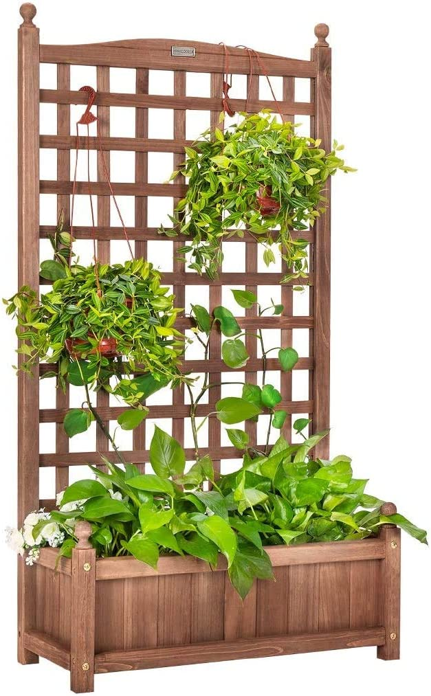 VIVOHOME Wood Planter Raised Bed with Trellis, 60 Inch Height Planter for Garden Yard
