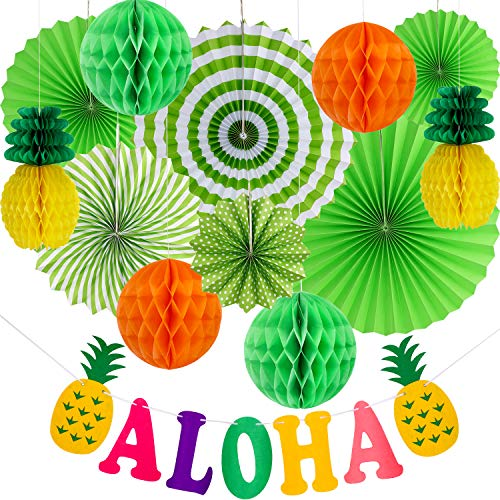 Hawaiian Party Decoration Set Hawaii Theme Party Supplies Paper Fans Aloha Banner for Luau Beach Party Photo Backdrop -