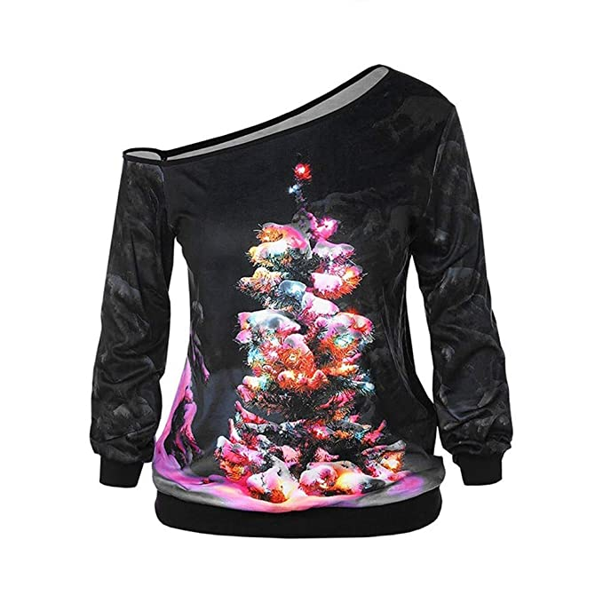 8b2ee03b06b8d5 Howley Top Christmas Shirt Women Xmas Print Long Sleeve Strapless Pullover  Blouse Tops (Black