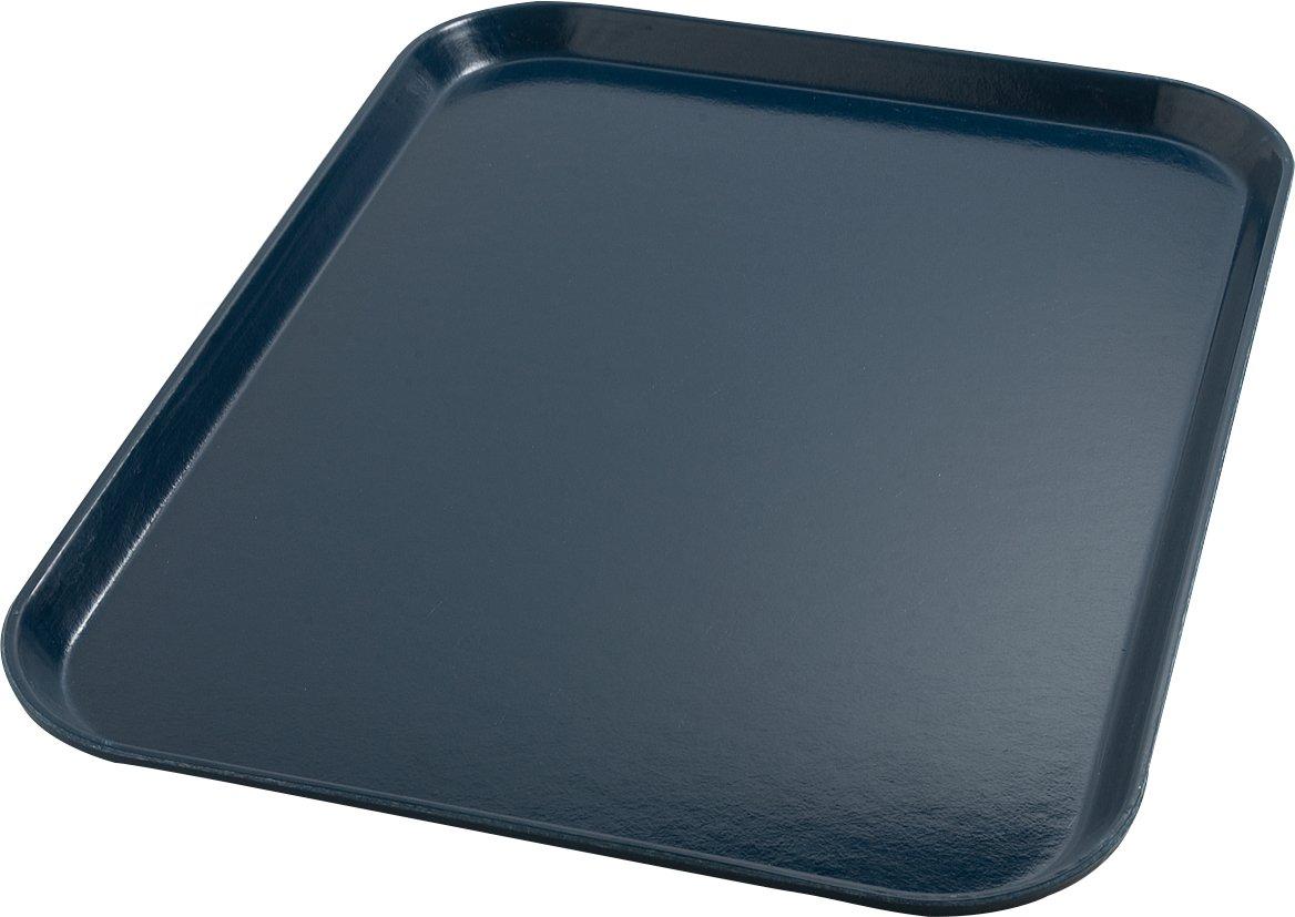 Dinex DX1089I50 Fiberglass Hospital Fast Food Tray, 0.5'' Height, 14'' Width, 18'' Length, Fiberglass, Dark Blue (Pack of 12)