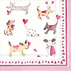 Ideal Home Range 40 Count 3-Ply Cocktail Beverage Dessert Paper Napkins, Love Heart Dogs (2 Packs of 20 Count Each)