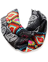 Black, Turquoise, or Goldenrod Tribal Sugar Skull Western Infinity Style Scarf from the WYO-HORSE Jewelry Collection