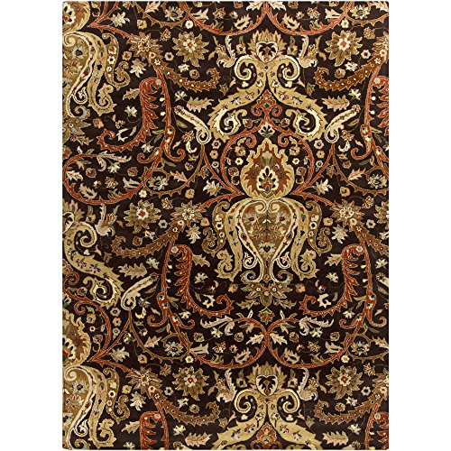 Surya Ancient Treasures A-141 Classic Hand Tufted 100% Semi-Worsted New Zealand Wool Coal Black 8' x 11' Paisleys and Damasks Area - 811 Biscotti