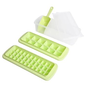 Hogar Cubito de hielo bandeja con tapa, bandejas y hielo pala – 2 unidades con