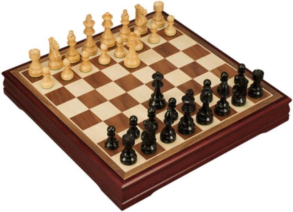 DKS 国際チェス、大エボニー絶妙な折りたたみチェスセット、ホーム子供/大人競技トレーニングチェス(ブラウン、50 * 50cmの) チェッカー、2人でプレイするチェス、携帯するチェッカー ( Color : Black , Size : Medium )