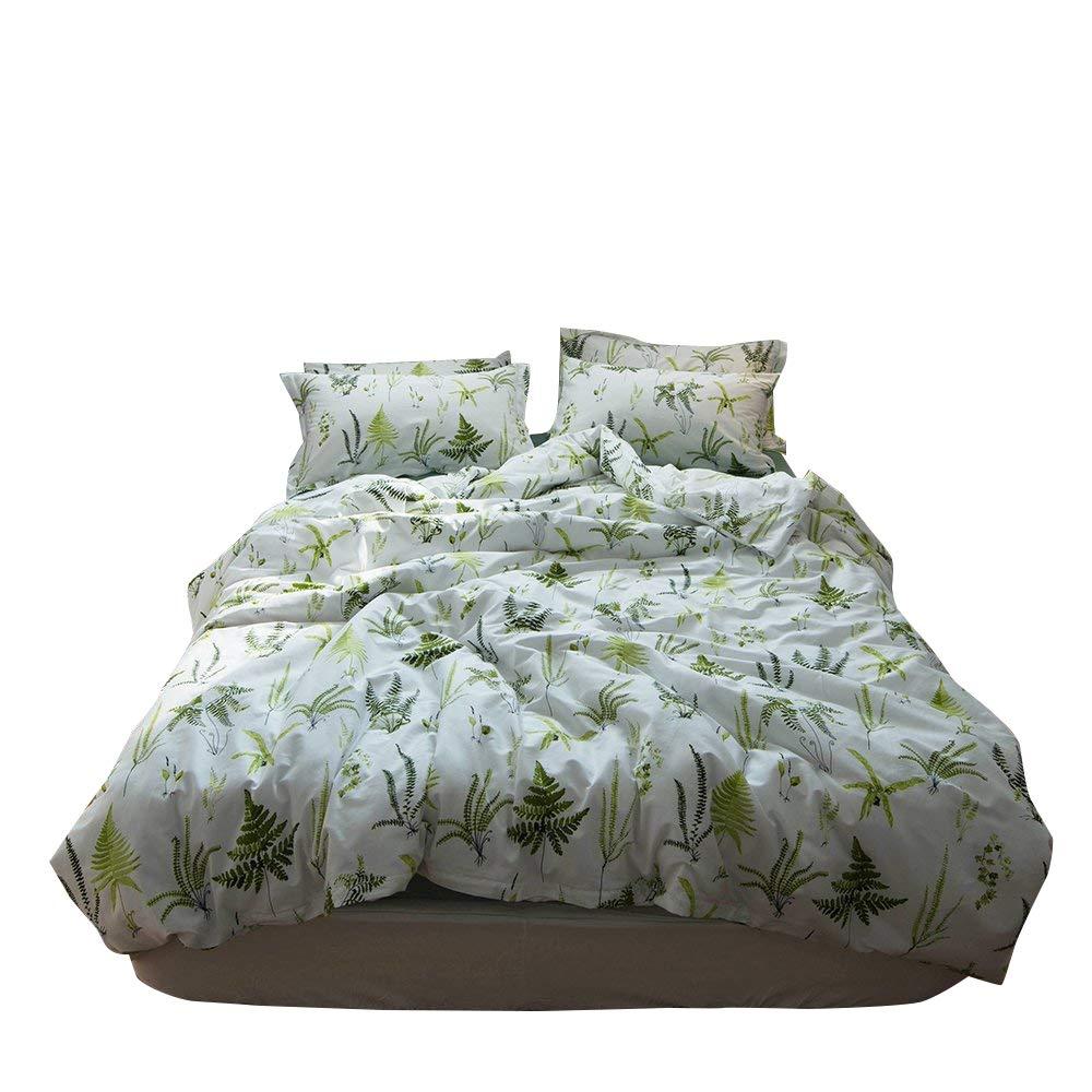 Enjoylife Reversible Print Green Tree Duvet Quilt Cover for Boys Girls 100% Cotton Soft Breathable 3pc Bedding Set Full Queen Size