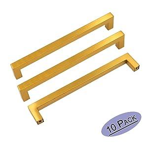 goldenwarm Gold Cabinet Pulls Square Kitchen Hardware Handles 10 Pack - LSJ12GD160 Brushed Brass Pulls for Cabinets Closet Square Cupboard Bathroom Desk Door Knobs 6-1/4in(160mm) Hole Centers