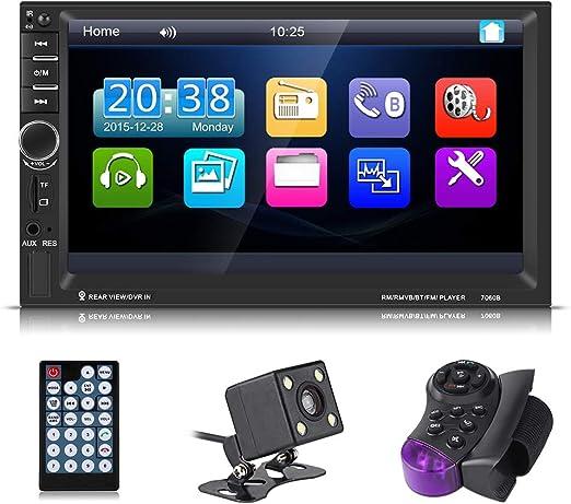 Pantalla t/áctil del Reproductor de MP5 para Radio FM para autom/óvil de 7 Pulgadas Sistema de Audio est/éreo para autom/óvil HD retr/áctil con Tarjeta USB//AUX//TF Manos Libres Bluetooth //