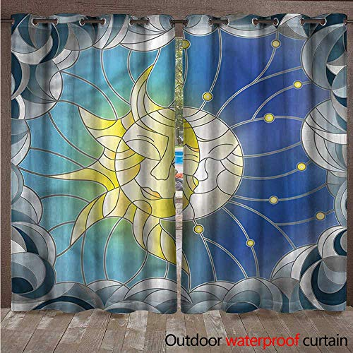 cobeDecor Sun and Moon Outdoor Curtains for Patio Sheer Stained Glass Design W96 x L108(245cm x 274cm)