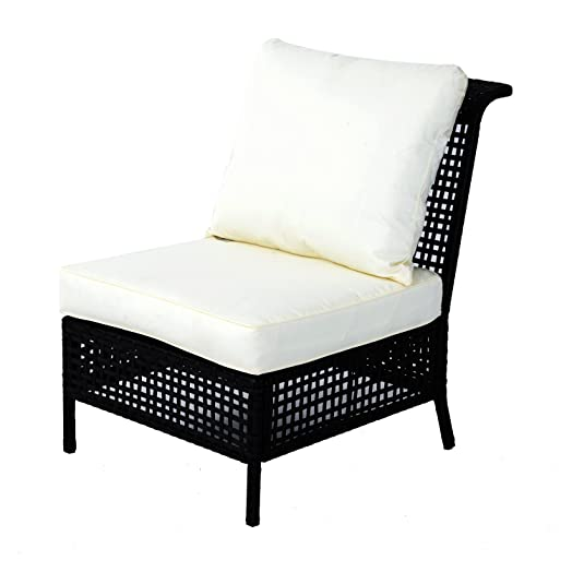 Outsunny Rattan Middle Chair Armless Sofa Single Garden Porch