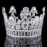 FUMUD 3.1'' Height Luxury Wedding Prom Platinum Plated King Queen Clear CZ Decor Clear Teardrop Shaped &Marquise Zircon Headband Veil Tiaras Full Round Headpiece Crown (Platinum Plated)