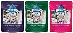 12 pack Blue Buffalo Wilderness for Cats Grain Free Pouches - 4 Pouches each of 3 Proteins - Duck, Chicken, and Salmon