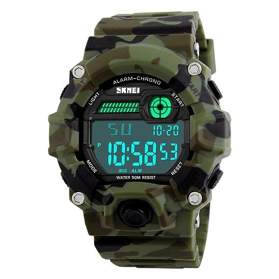 Digital Deportivos Relojes de Hombre Camuflaje Plástico Bisel Cuero Correa Outdoor Militares Táctica 50M Resistente Agua LED Número Display Diseño Simple ...