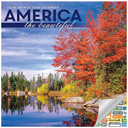 (DateWorks 2019 America the Beautiful Wall Calendar Set -- Deluxe Scenic American Landscape 2019 Calendar Bundle with Over 100 Calendar Stickers (Patriotic Office Supplies))