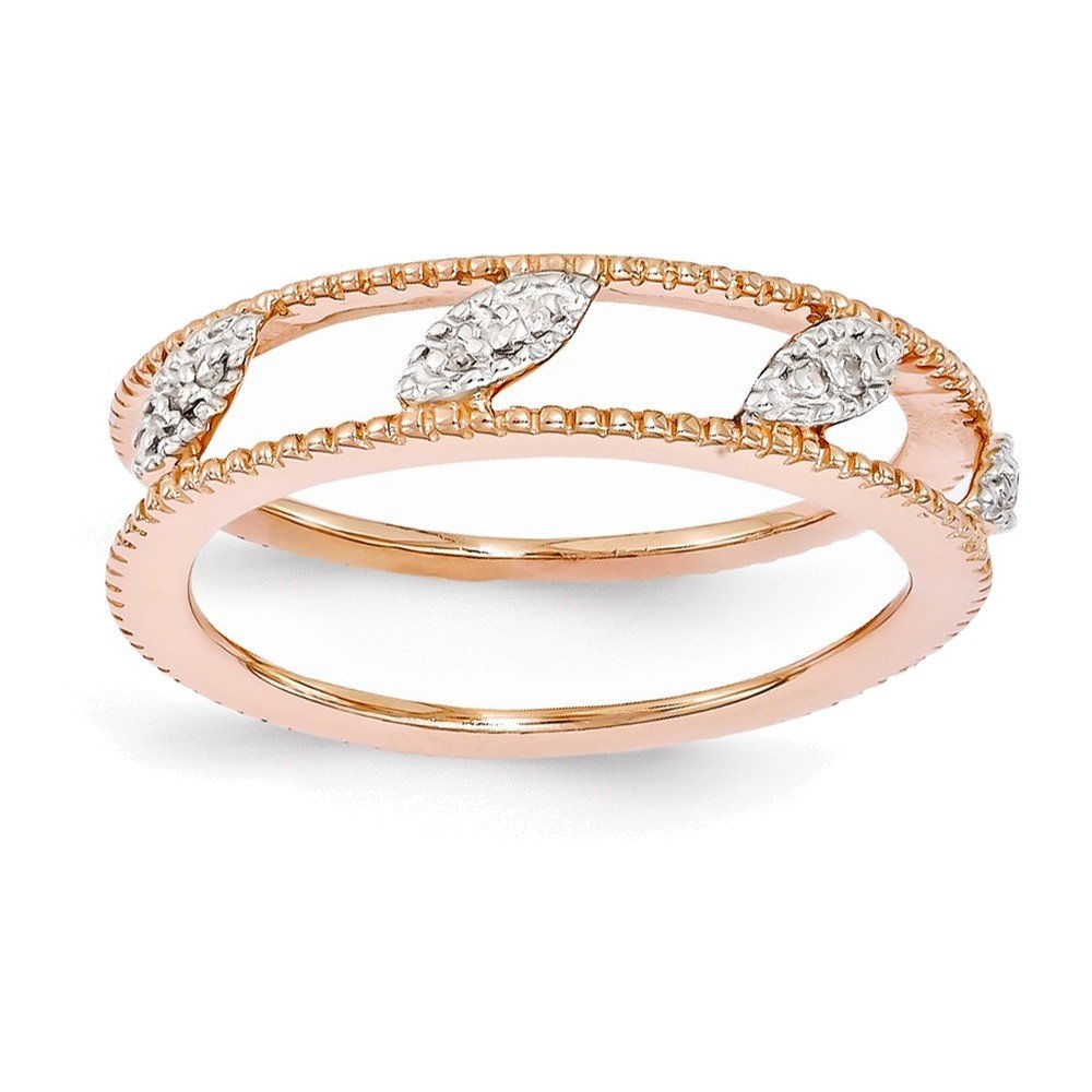 Sterling Silver Stackable Expressions Rose Gold-plated Diamond Jacket Ring Size 6