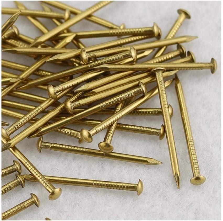 Ding&ng Clavos de Cobre Puro, Clavos de Cobre Antiguos, Clavos Decorativos de Cabeza Redonda, Clavos Dorados, 250 g