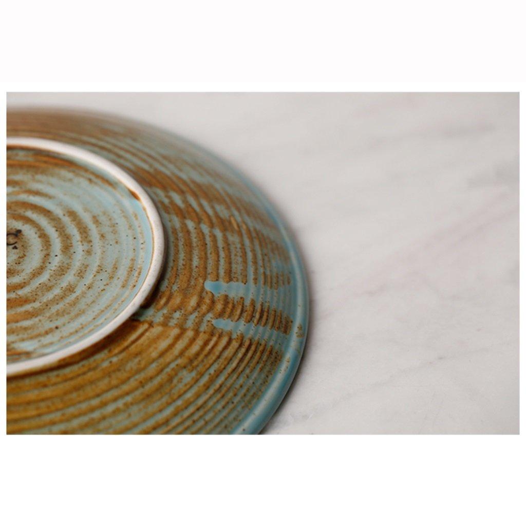 He Xiang Ya Shop Ceramic soup plate deep dish retro round fruit salad plate Flat dish steak plate 20.5 cm (8 inches) by He Xiang Ya Shop (Image #6)