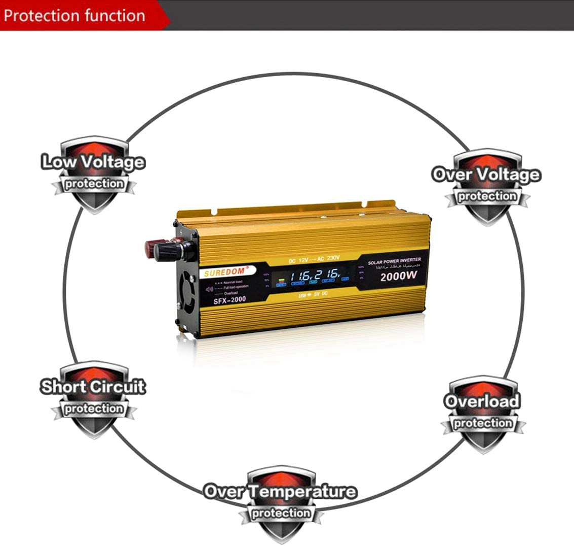 Transformateur de Courant DC 12V pour Urgence Int/érieure ou Ext/érieure,12Vto220V 24V to AC 220V avec Affichage /à LED AWIS 2000W Convertisseur de Tension de Voiture