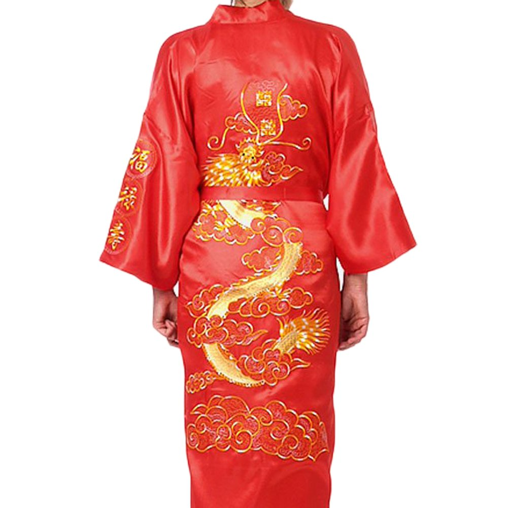 Amazon.com: Chinese Men\'s Silk Satin Embroider Kimono Robe Gown ...