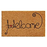 Home & More 102521729  Kitty Curlicue Doormat 17''x 29'' , Natural/Black