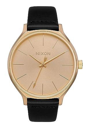 Nixon Reloj Analógico para Mujer de Cuarzo con Correa en Cuero A1250-510-00: Amazon.es: Relojes