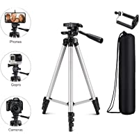 Tygot Adjustable Aluminium Alloy Tripod Stand Holder for Mobile Phones & Cameras, 360 mm -1050 mm, 1/4 inch Screw Metal Body + Mobile Holder Bracket (Silver and Black)