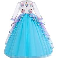 MYRISAM Girl's Unicorn Princess Rainbow Long Tulle Dress Wedding Birthday Carnival Party Performance Dance Pageant Ball…