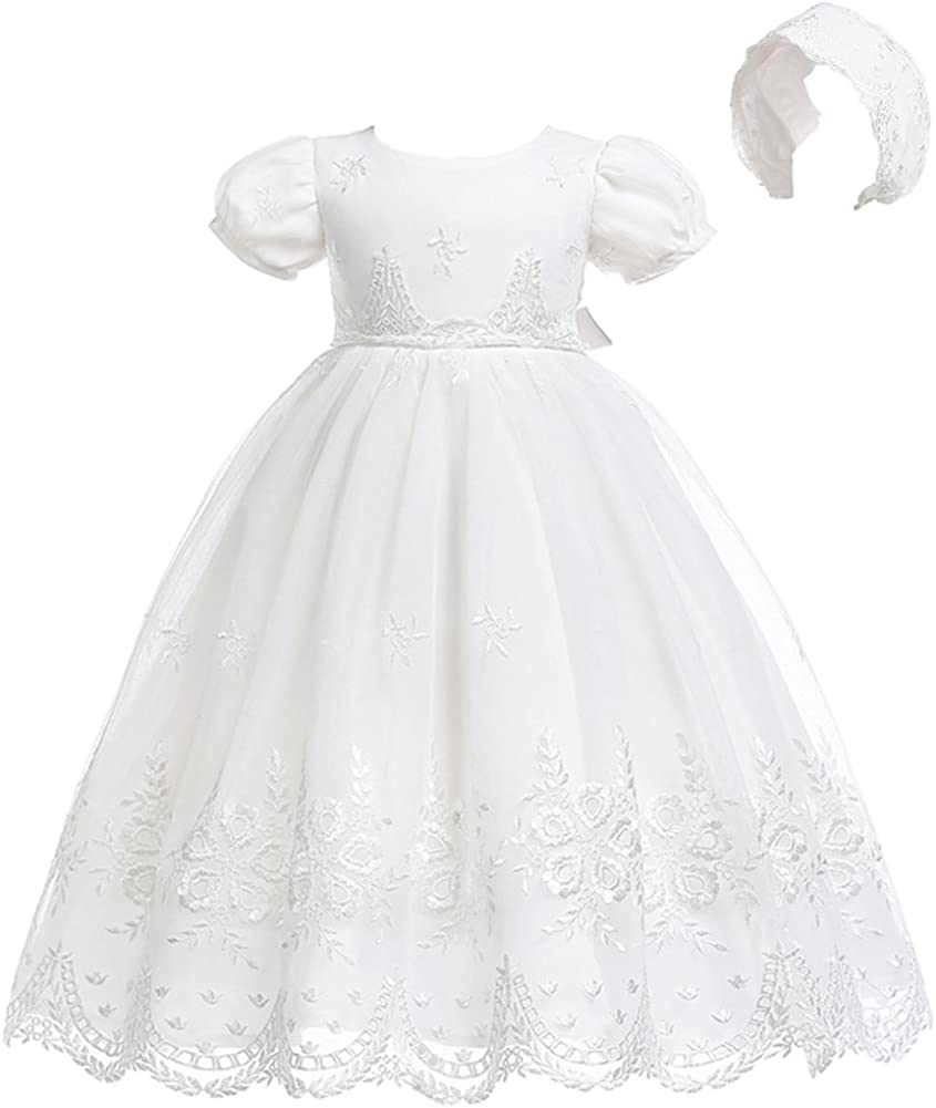 Coozy Baby Girls Christening Dress Baptism Growns Lace Formal Party Wedding Special Occasion Dresses Outfits with Bonnet