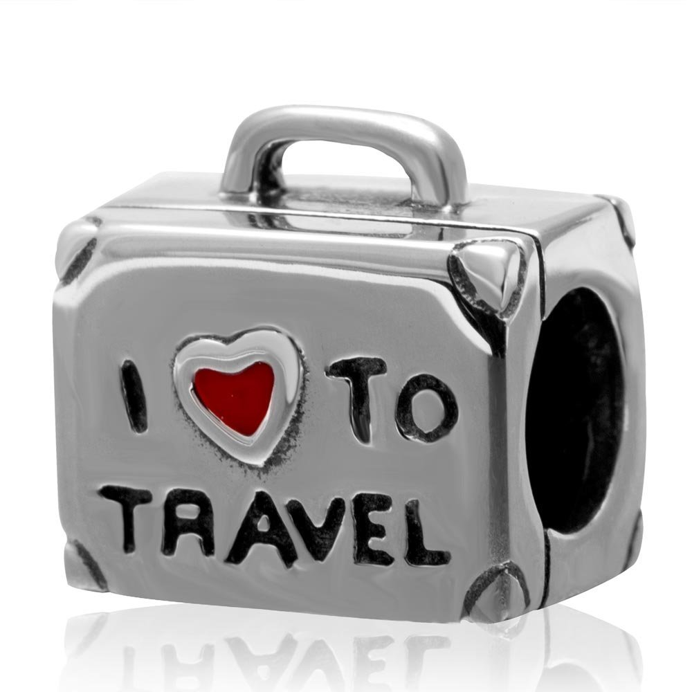 I Love To Travel Authentic 925 Sterling Silver Travel Suitcase Charm with Red Enamel Heart Bead for European Charms Bracelet