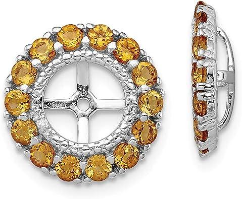and Citrine Earring Jacket Jewelry Birthstone Earrings Sterling Silver Rhodium Diam