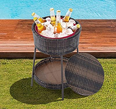 "25"" Large Rattan Wicker Ice Bucket Patio Cooler Beverage Drink Party Pool Yard"