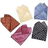 BMC Mens 5 pc Mixed Pattern Large 12 inch Pocket Square Fashion Handkerchief Accessories - Set 4: Regalia