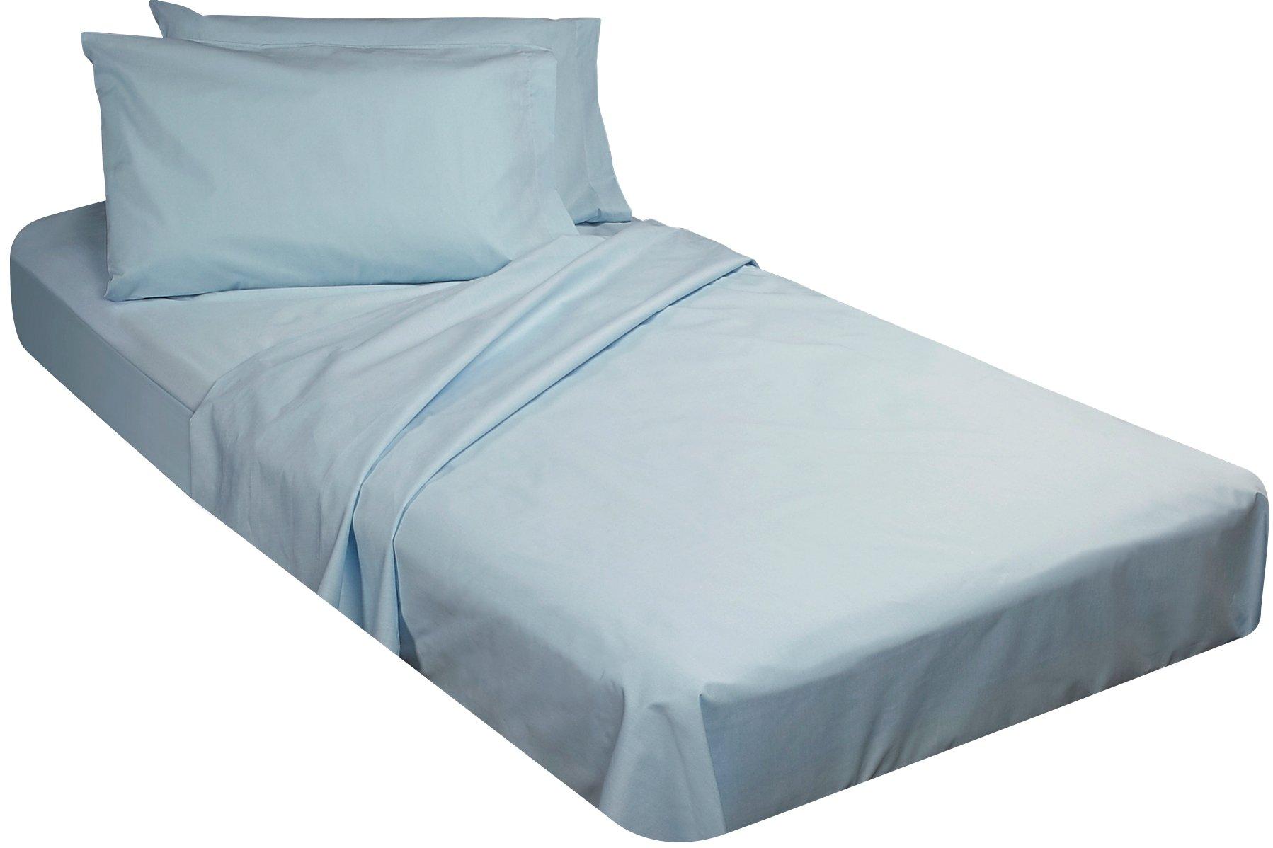 Gilbin College Dorm Cotton Twin Extra Long 4 Piece Sheet Set (Sky Blue)
