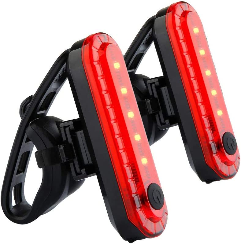 BB67 2pc USB Rechargeable Bike Bicycle Cycling 4 Modes LED Front Rear Tail Light Lamp