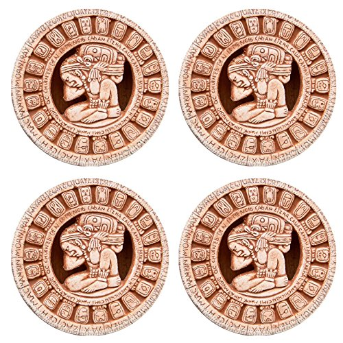 Luxlady Natural Rubber Round Coasters IMAGE ID: 36614733 Fragment of the Mayan symbolic sun carved on the stone (Heritage Carved Dining Table)