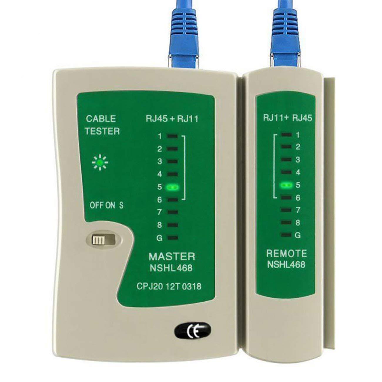 Testeur de c/âble r/éseau professionnel RJ45 RJ11 RJ12 CAT5 UTP LAN Testeur de c/âble D/étecteur Outils de test /à distance Mise en r/éseau blanc et vert JIO-F