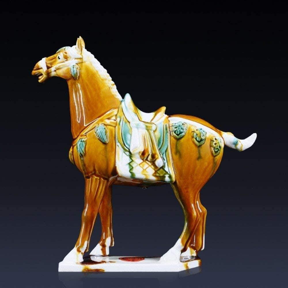 RYOG Decorativas Estatuas Escultura Estatuilla Estatua de Caballo Silla de Porcelana China Antigua Cerámica arqueada Cargador de Caballo Escultura Réplica Obra de Arte para la Sala Accesorios de Mesa